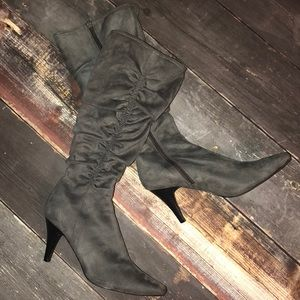 Size 8.5 Grey Ruched Tall Boots